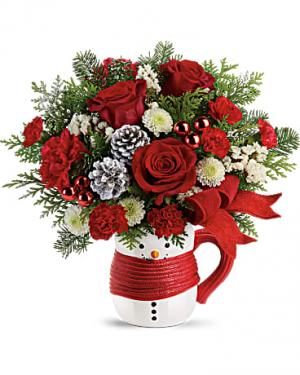 Snowman Mug Bouquet Christmas Flowers in Riverside, CA   Willow Branch Florist of Riverside