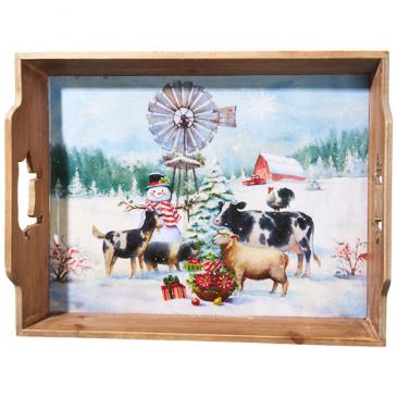 Snowman on the Farm Tray Gift Item