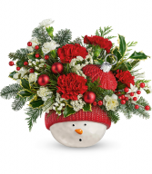 Snowman Ornament All-Around Floral Arrangement