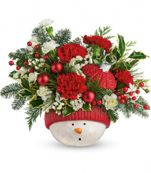 Snowman Ornament All-Around Floral Arrangement in Winnipeg, MB | KINGS FLORIST LTD