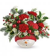 Snowman Ornament Bouquet Fresh Arrangement