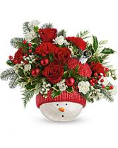 Snowman Ornament Flower Arrangement