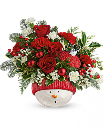 Snowman Ornament Flower Arrangement