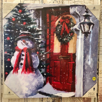 Snowman outside the door canvas Art Canvas art