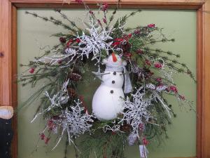 Snowman Wreath Silk Wreath in Farmville, VA | CARTERS FLOWER SHOP