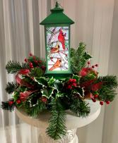 Snowy Cardinal Lantern