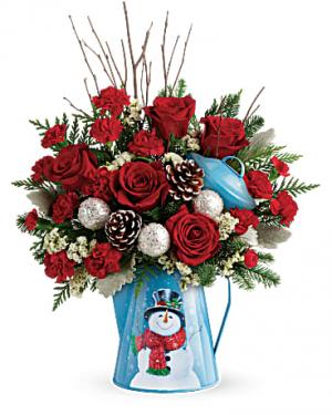 Snowy Daydreams Bouquet Christmas Flowers in Riverside, CA | Willow Branch Florist of Riverside