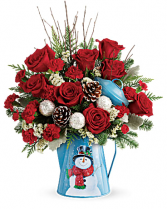 Snowy Dream Snowman Tin Fresh Flowers
