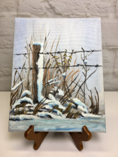 Snowy Fence Post  Acrylic Painting