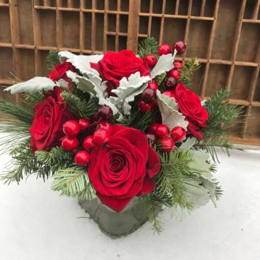 Snowy Holiday Roses vase arrangement