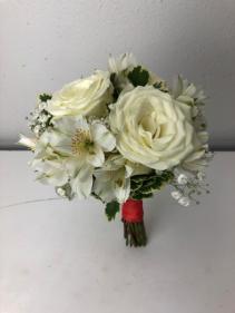 Snowy Jewel Roses, Alstromeria, Baby Breath Bridal or Brides Maid Bouquet
