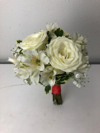 Snowy Jewel Roses, Alstromeria, Baby Breath Bridal or Brides Maid Bouquet