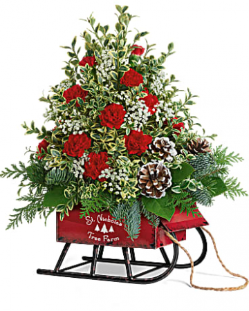 Snowy Sleigh Tree Bouquet Holiday