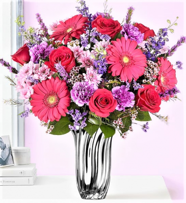 So Delighted That You are MINE! Gorgeous Mix of Blooms in Silver Radiance Vase