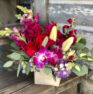 So In Love Cube Arrangements with Roses & Orchids in Key West, FL | Petals & Vines