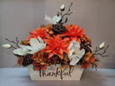 So Very Thankful wood box with artificial Silk Arrangement (ARTIFICIAL)