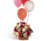 Soaring Balloons and Blooms Fresh Floral Arrangement