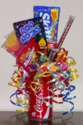 Soda Pop Fruit Flavored Candy Bouquet Gift Basket