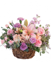 Soft And Gentle Basket Lilly, Roses & Carnations