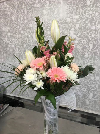 Soft Beauty in a Vase  Mixed Bouquet