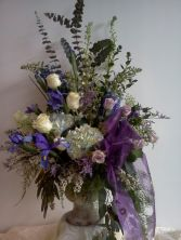 Soft Blue and Lavender Urn Arrangement