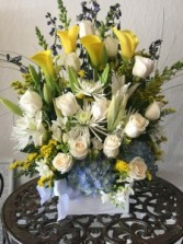 Soft Blue, Yellow and White Sympathy Tribute