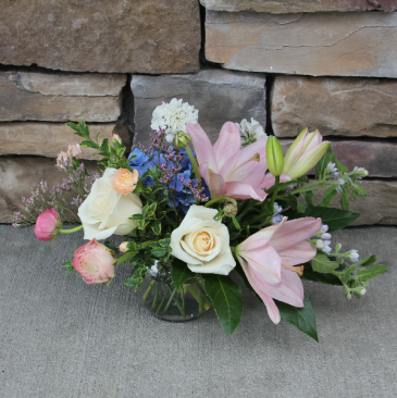 Soft Pastel Bubble Bowl Fresh Garden Arrangement
