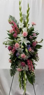Perfectly Pastel Standing Spray of Funeral Flowers in Bolivar, MO | The Flower Patch & More