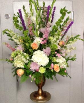 Soft Pastel Urn  Funeral Arrangement