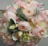 SOFT PINK GARDEN ROSES, LISIANTHUS, HYDRANGEA   WEDDING BOUQUET
