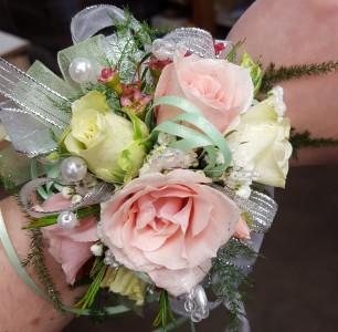 Soft Pink & Minty Wrist Corsage