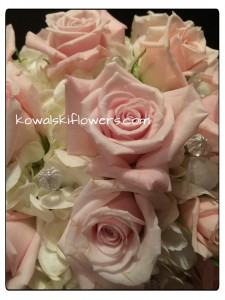Soft Pink Roses & Hydrangeas Bridal Bouquet in Whitesboro, NY | KOWALSKI FLOWERS INC.
