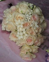 SOFT PINK ROSES, STEPHANOTIS WEDDING BOUQUET