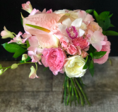 soft pink roses with hints of tropical