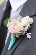 Soft pink with aqua boutonniere Boutonniere