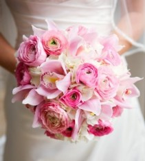 Soft pinks and white flowers  A Brides bouquet ..and can be made smaller for your girls