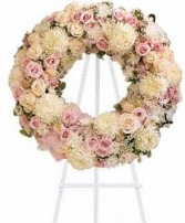 BLUSH CIRCLE OF LIFE WREATH WREATH STANDING FUNERAL ARRANGEMENT