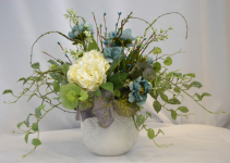 Soft Teal And Airy FAUX (SILK) DESIGN