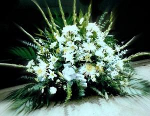 Soft White Sympathy Basket  in Fair Lawn, NJ | Dietch's Florist