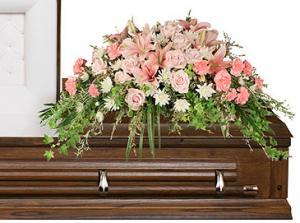 SOFTLY AT REST Casket Arrangement in Naugatuck, CT | TERRI'S FLOWER SHOP