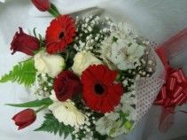 Miami Colors Presentation Bouquet!!! Mixed flowers in Red and White...roses,lillies,GERBERAS,baby's breath,large gerbera daisies