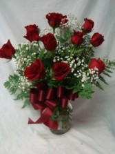 Send Love with Red Roses~ DOZEN RED ROSES WITH BABY'S BREATH AND BOW ARRANGED IN A VASE!