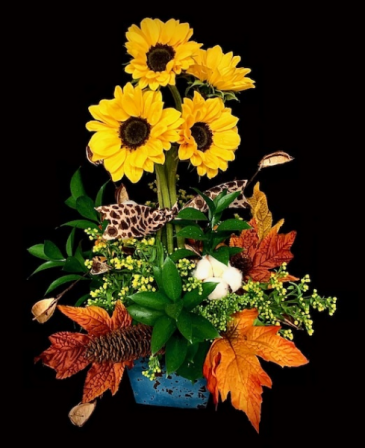 Solar Power Fall Sunflower Topiary