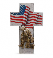 Soldier and Flag Cross Plaque Gift