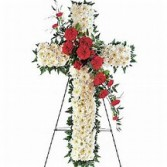 Solid Cross with Cluster Funeral Flowers
