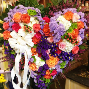 Vibrant Solid Heart Standing Spray in Northport, NY | Hengstenberg's Florist