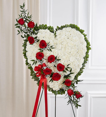 SOLID HEART WHITE WITH RED BREAK