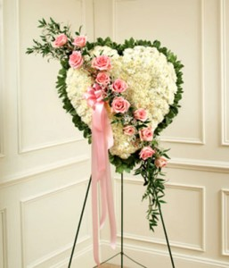 Solid Heart with Pink Roses Sympathy