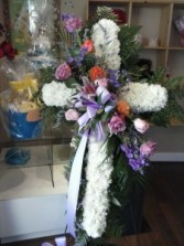 Solid White Standing Cross with Pastel Flower Brea Funeral Flowers