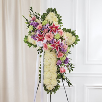 Solid White Standing Cross With Pastel Flowers  Item #91394